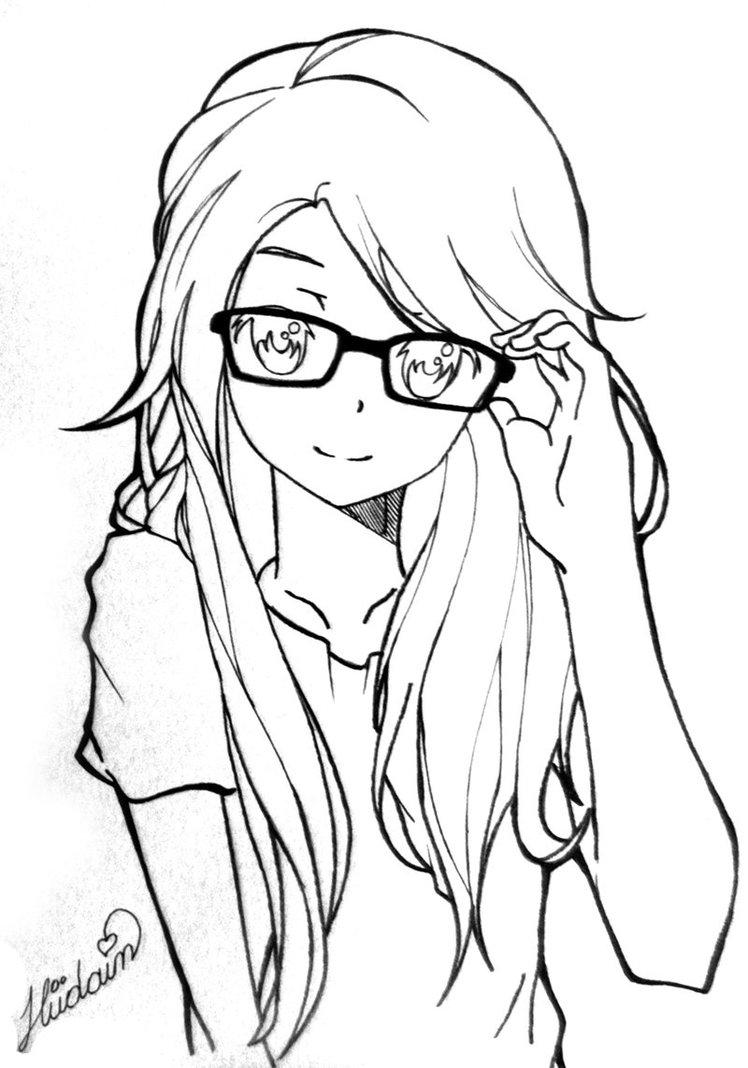 748x1068 Anime Line Drawing Anime Girl By Hudaim On My Works