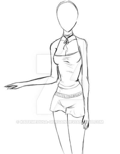 400x516 Anime Girl Base Sketch By Katemedusa Gorgan