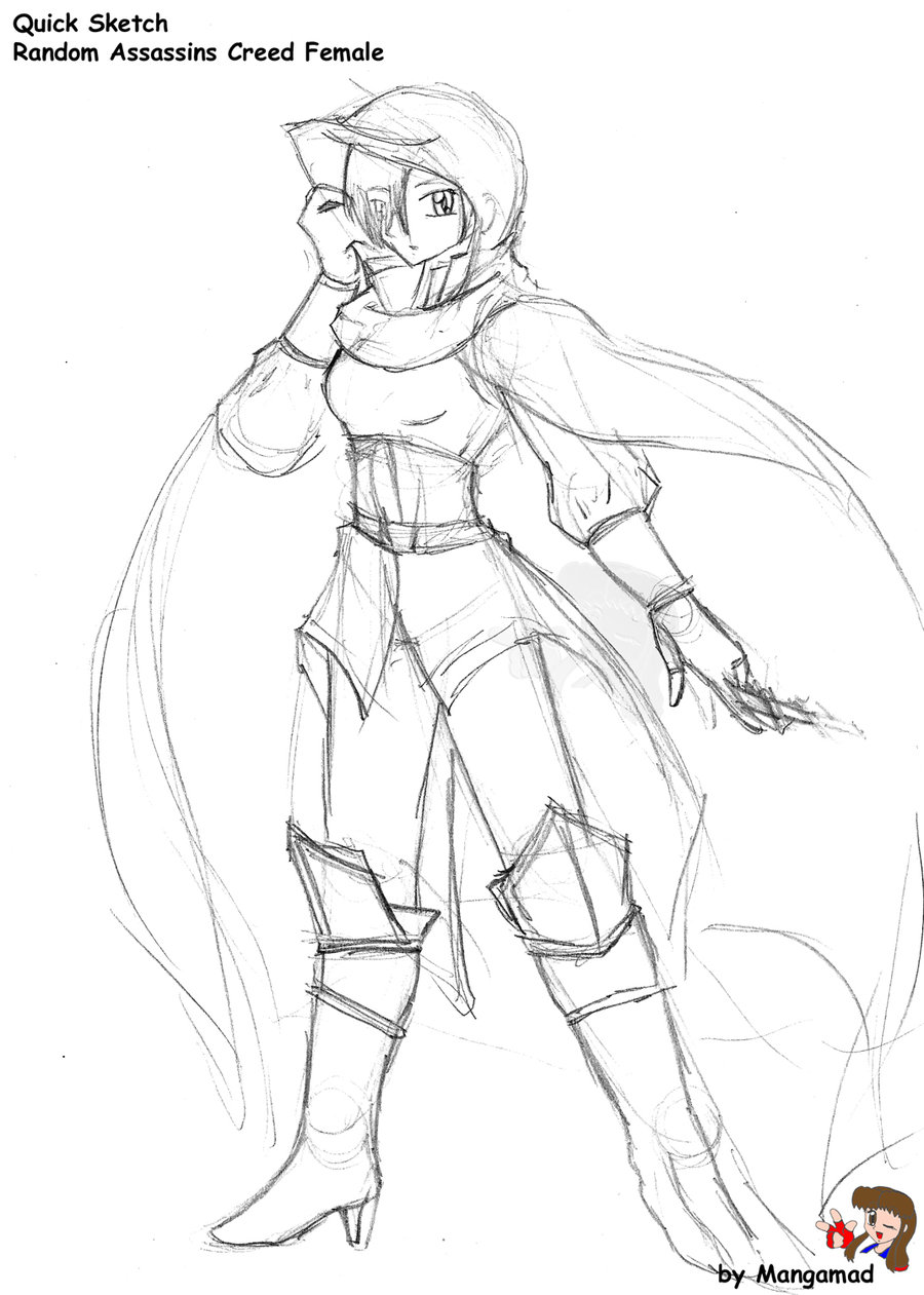 900x1261 Assassins Creed Female Sketch By