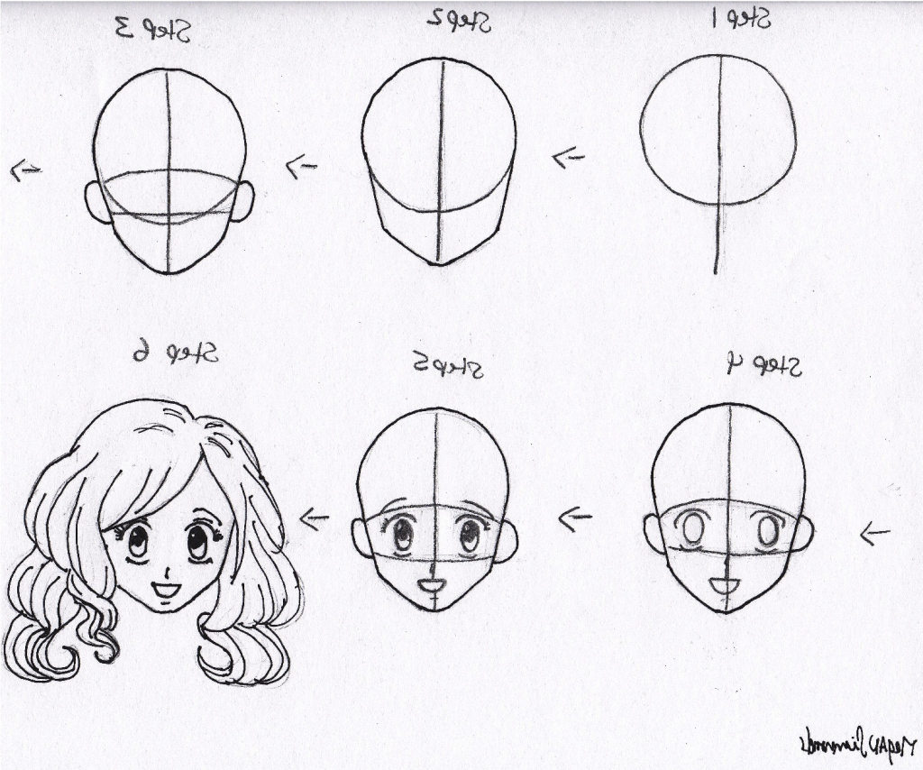 1024x854 Female Face Drawing Step By Step Anime Female Face Step By Step