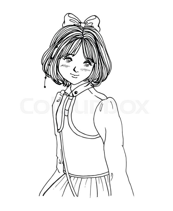 654x800 Sweet Girl Portrait Black White Sketch Manga Anime Style