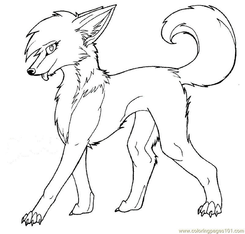 It's just an image of Sweet Anime Wolf Girl Coloring Pages