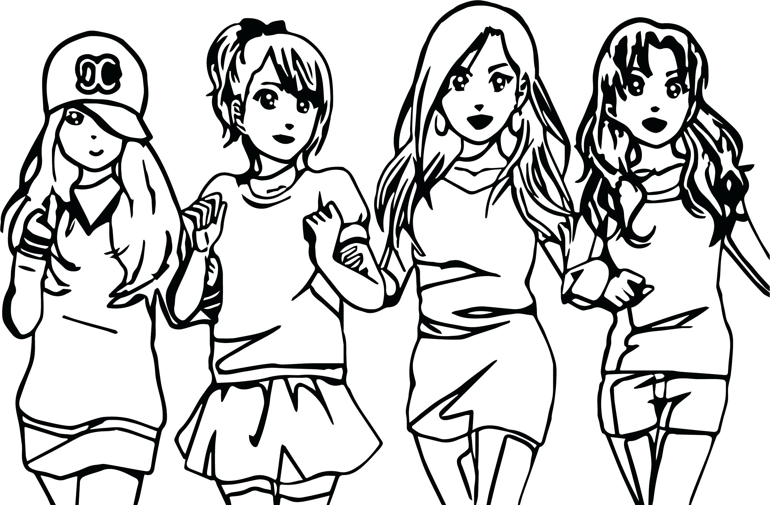 2458x1612 Coloring Coloring Pages Of Friends Four Anime Best Forever Page