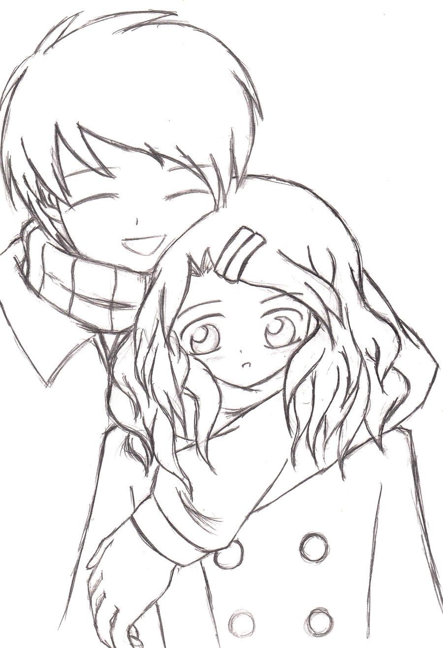 Anime Girl And Boy Drawing