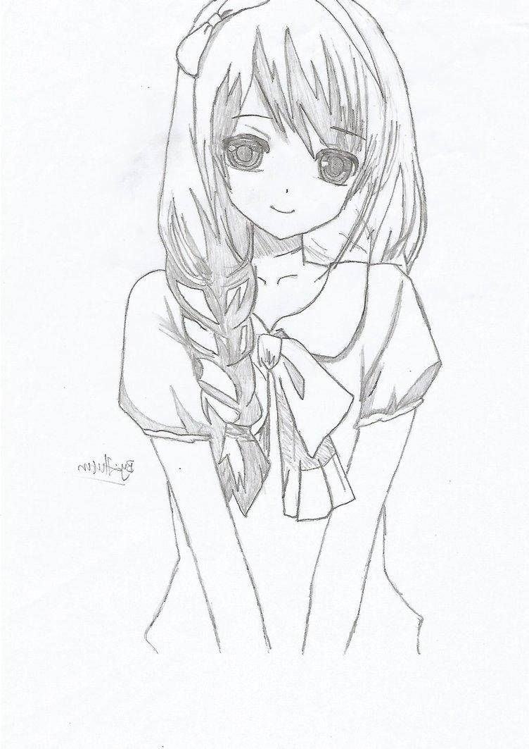 752x1063 Beautiful Anime Girl Sketch