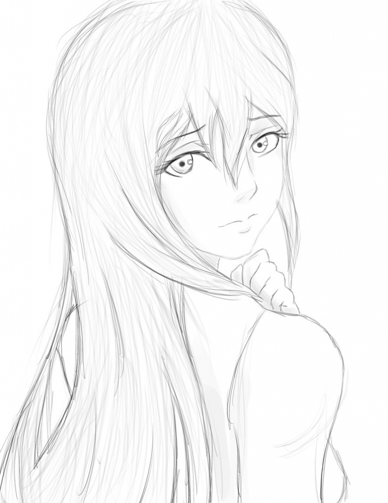 791x1024 Drawing Sketch Anime Girl Anime Girl Sketchsly Foxhound