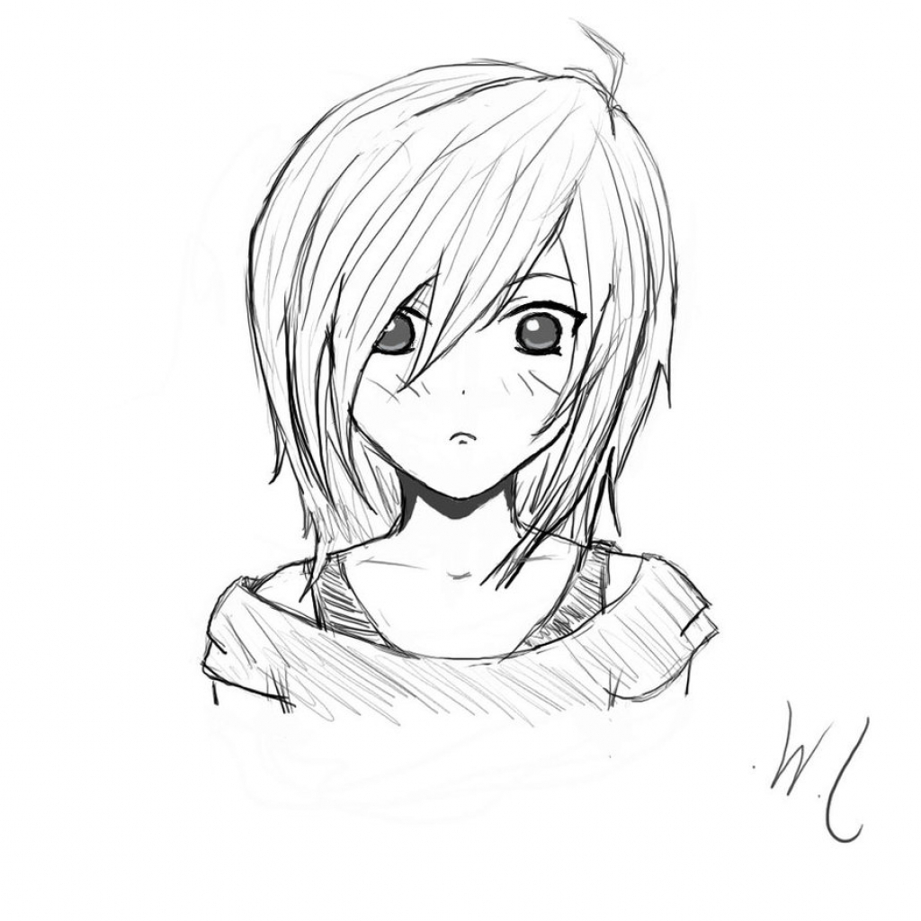 Easy Pencil Drawings: Anime Girl Drawing At GetDrawings.com