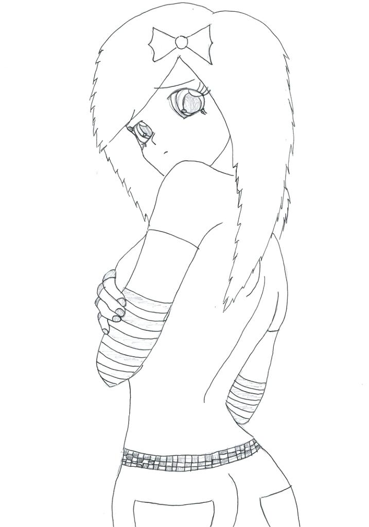 717x1024 Emo Girl Coloring Pages Cute Anime