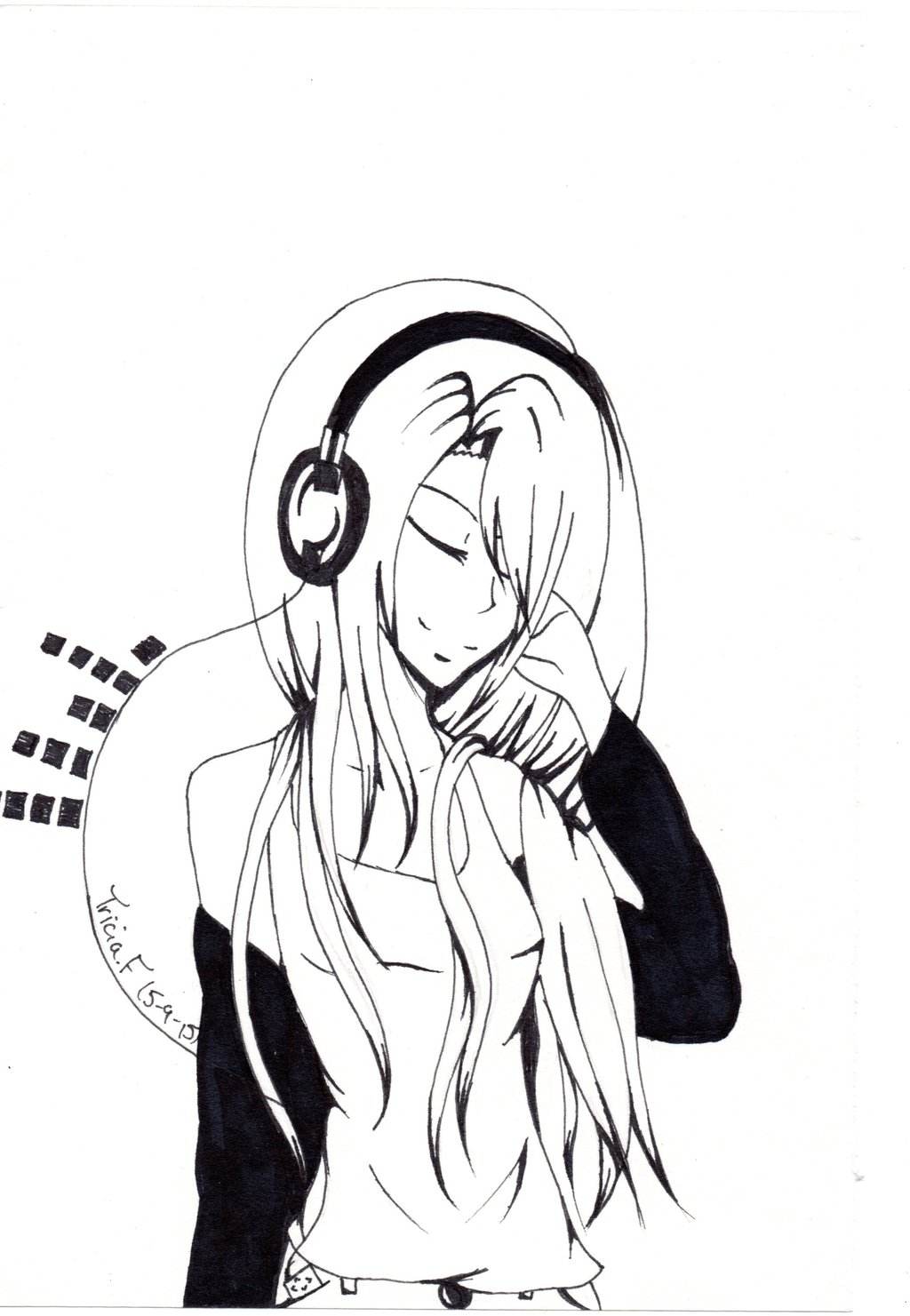 1024x1481 Headphone Anime Girl by TriciaCreations on DeviantArt