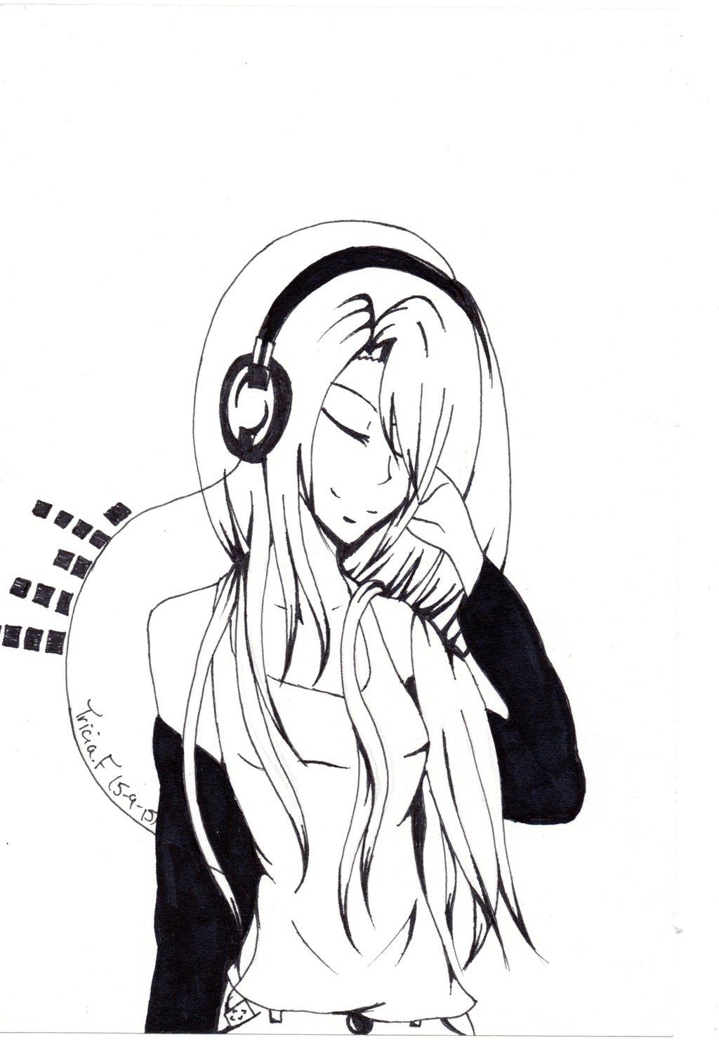 1024x1481 Headphone Anime Girl By Triciacreations
