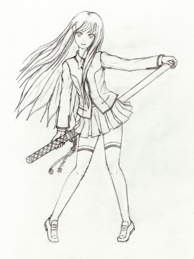 800x1066 Katana School Girl By Tsubasamist