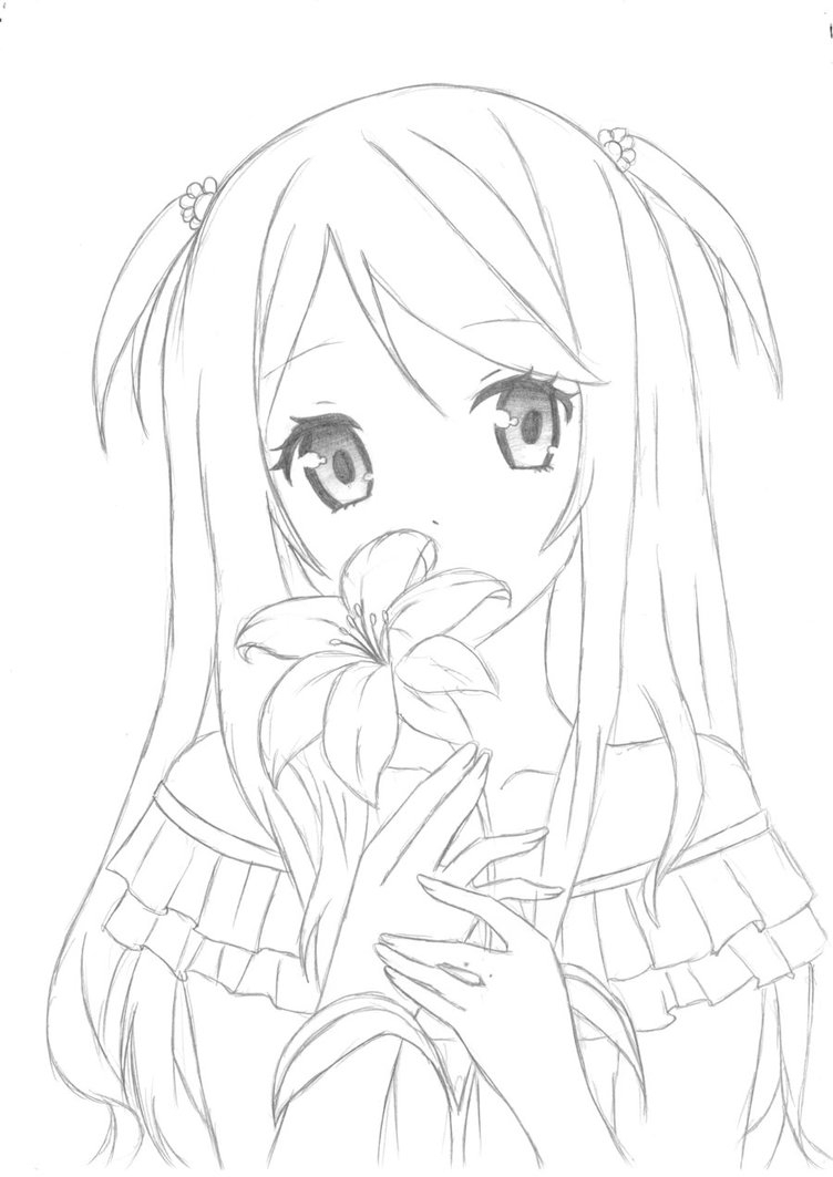 752x1063 Anime Flower Girl Drawing