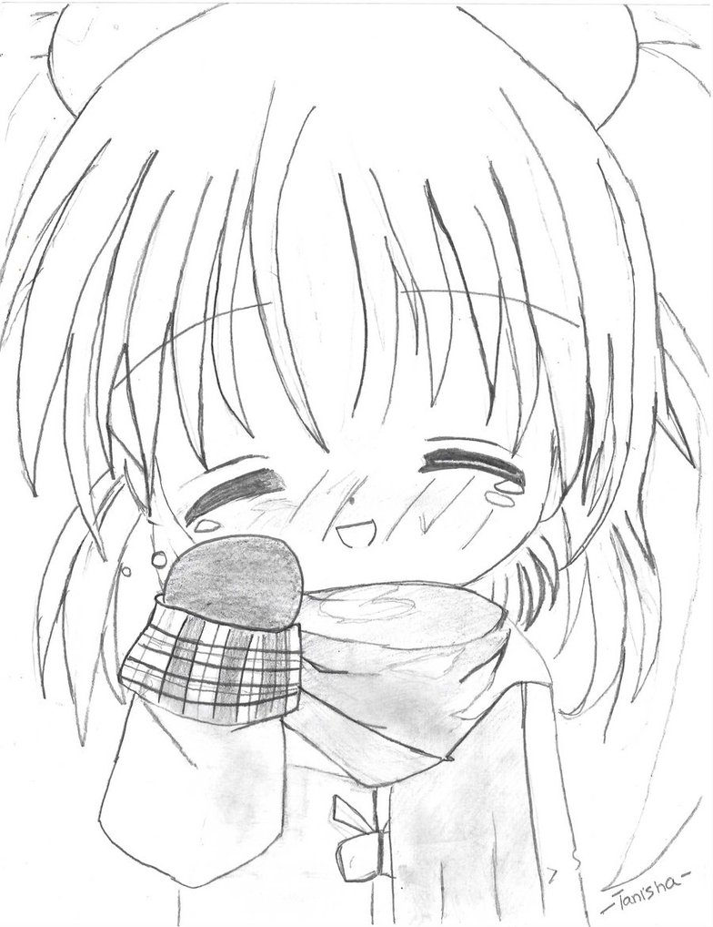 784x1018 Little Anime Girl In The Winter By Lalaesha