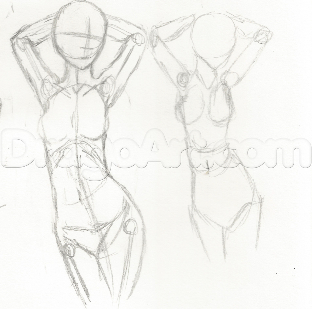 1024x1013 Anime Girl Figure Sketch Full Body Drawing Poster