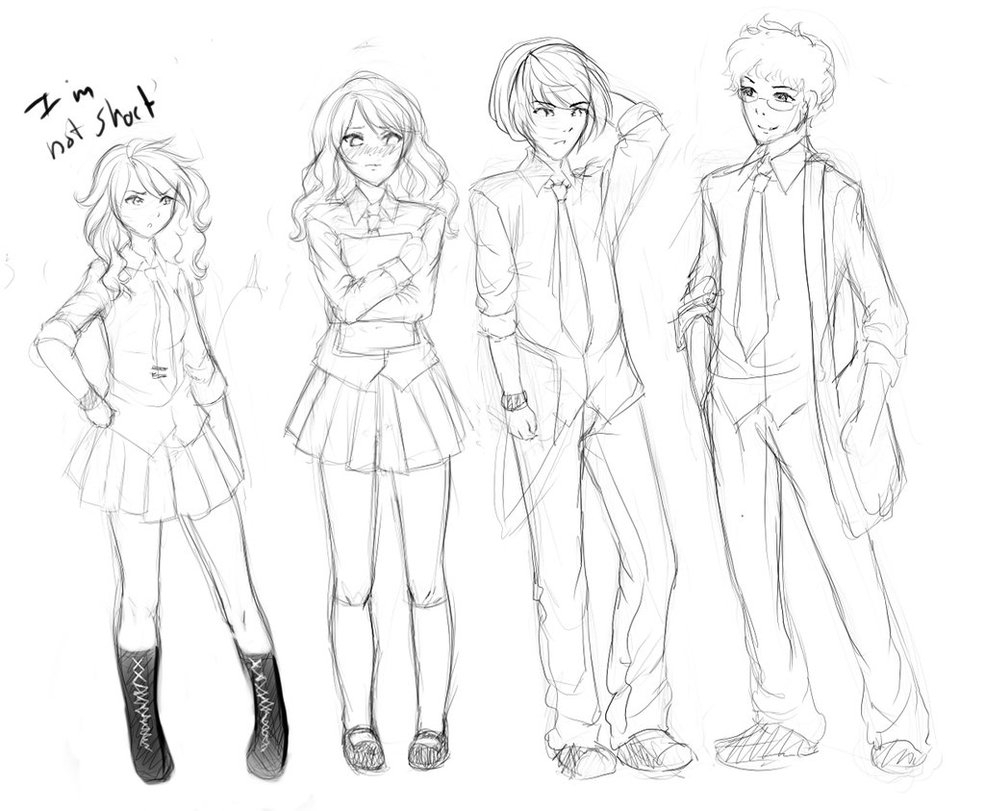 985x811 Anime Sketch Full Body Anime Girl Full Body Drawing With Clothes