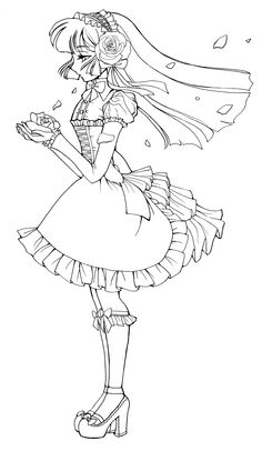 236x406 Anime Girl Coloring Page Full Body