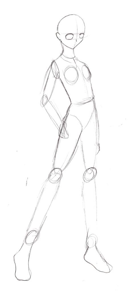 450x1024 Anime Female Body Sketch