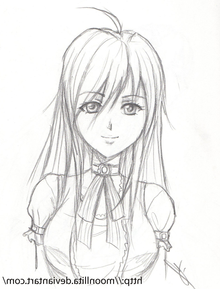 900x1183 Drawing Easy Anime Girl By Pencil Cute Anime Sketches In Pencil