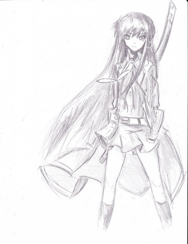 791x1024 Pencil Sketch Of Anime Girl Full Body Easy Anime Sketches Whole
