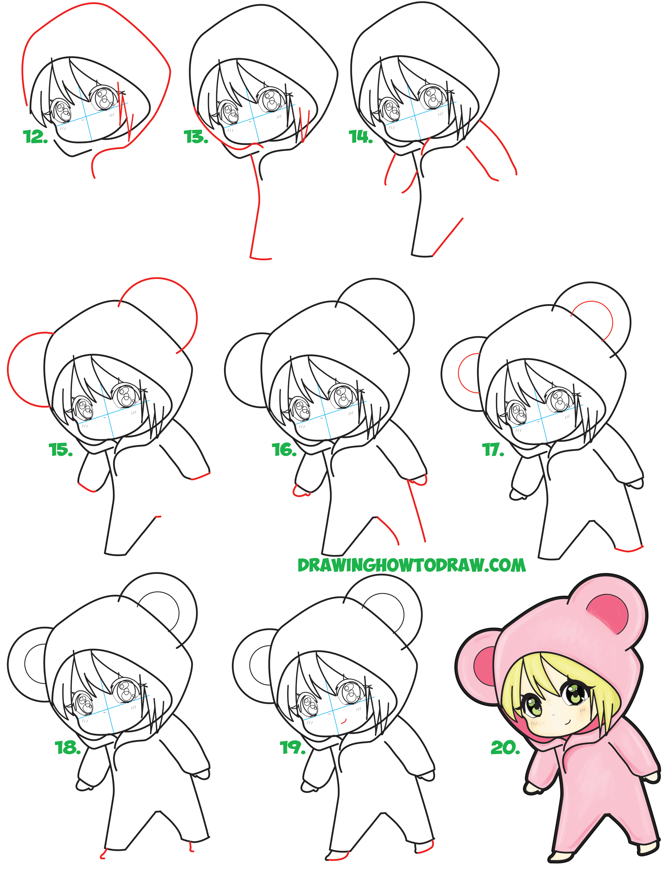 2200x2882 Learn How To Draw A Cute Chibi Girl Dressed In A Hooded Bear