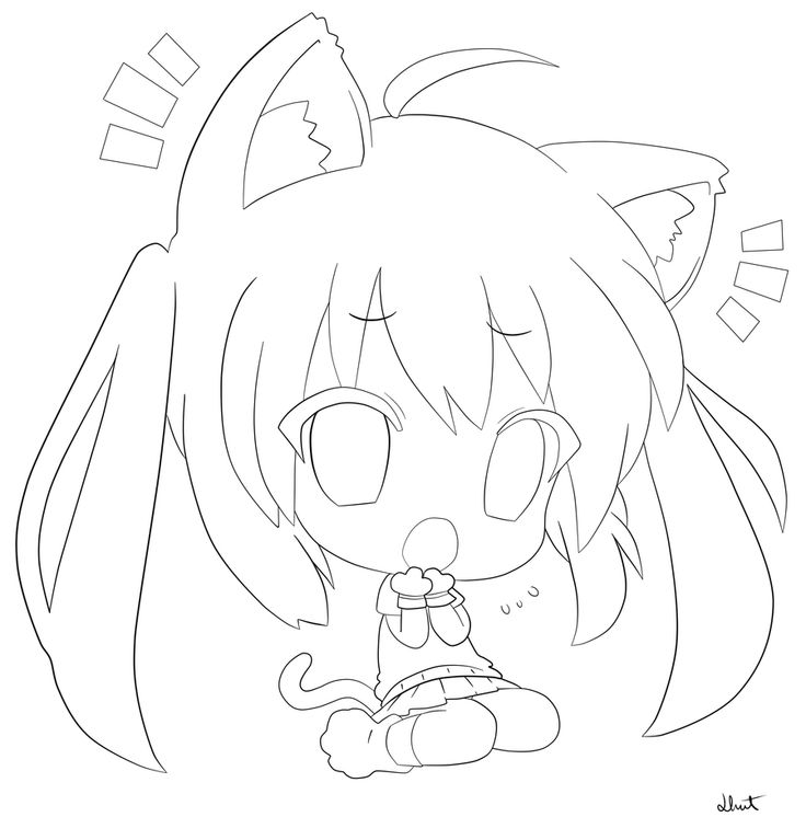 736x746 Anime Cat Girl Coloring Pages