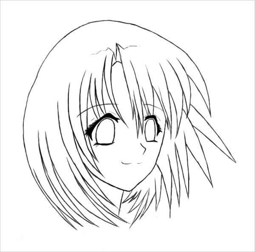 810x801 Anime Girl Face Coloring Page Meltemplates
