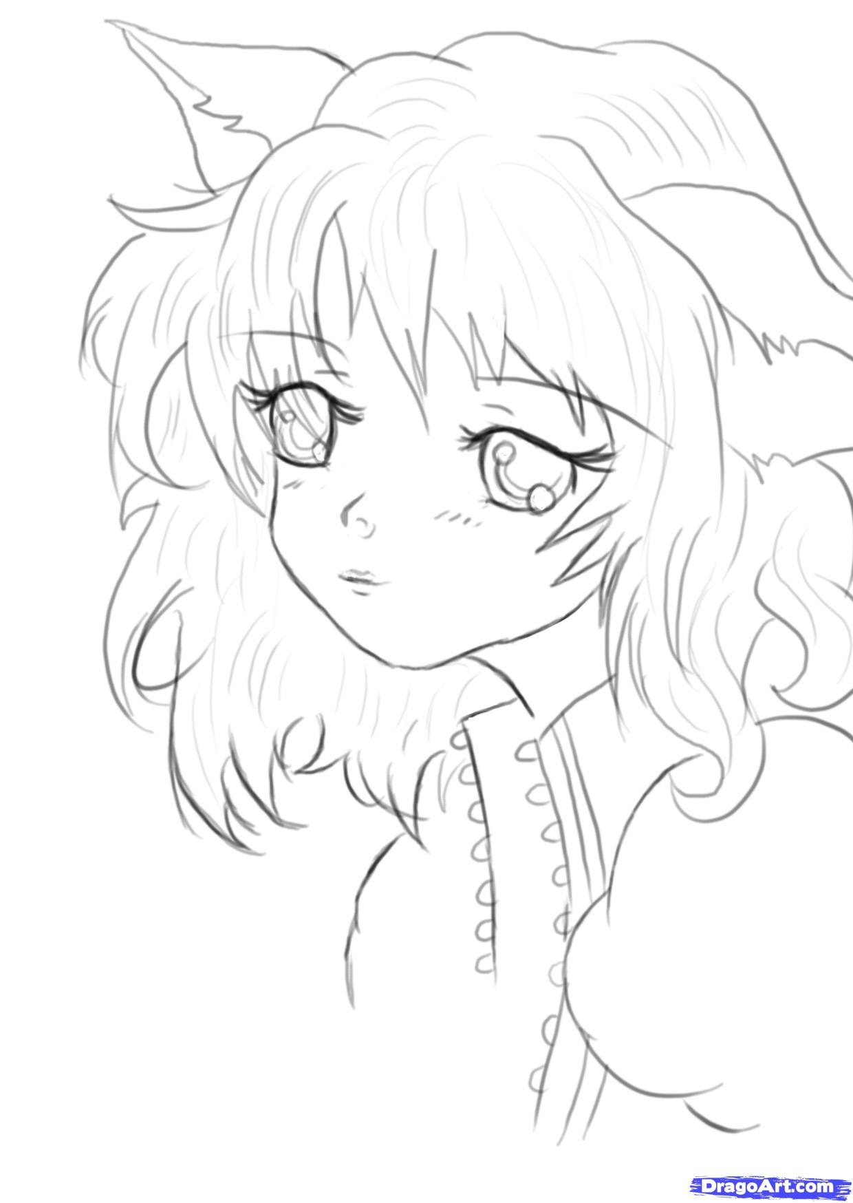 1240x1748 Cute Anime Draw Draw Girl Face And Hair In Cute Style How