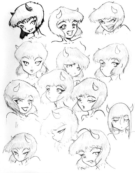 467x600 Devil Girl Face Study By Xduck