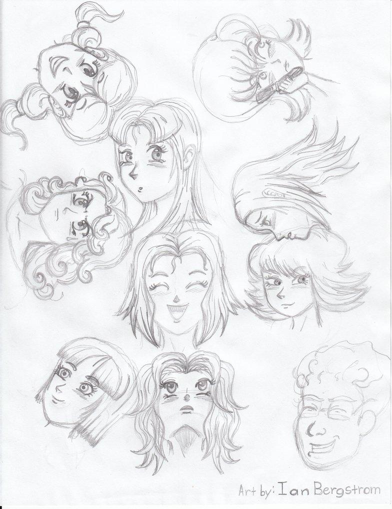 784x1018 Random Anime Girl Faces By Iansart2012