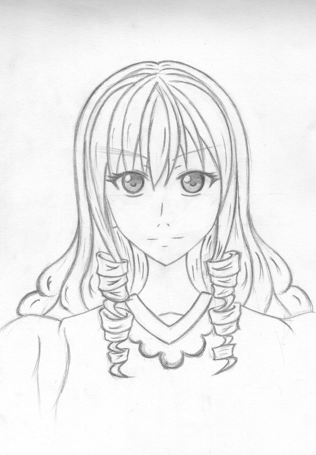 1024x1472 Anime Girl (Curly Hair Style) By Naki Ren