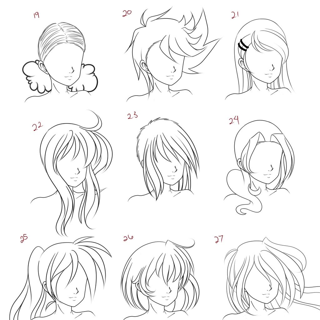 Anime Girl Hair Drawing