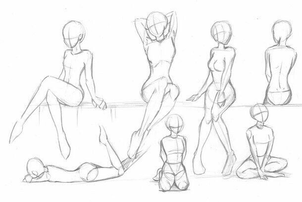 610x409 Body Positions, Female, Girl How Draw Mangaanime How