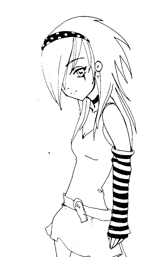 508x900 free coloring pages of full body anime girls 598