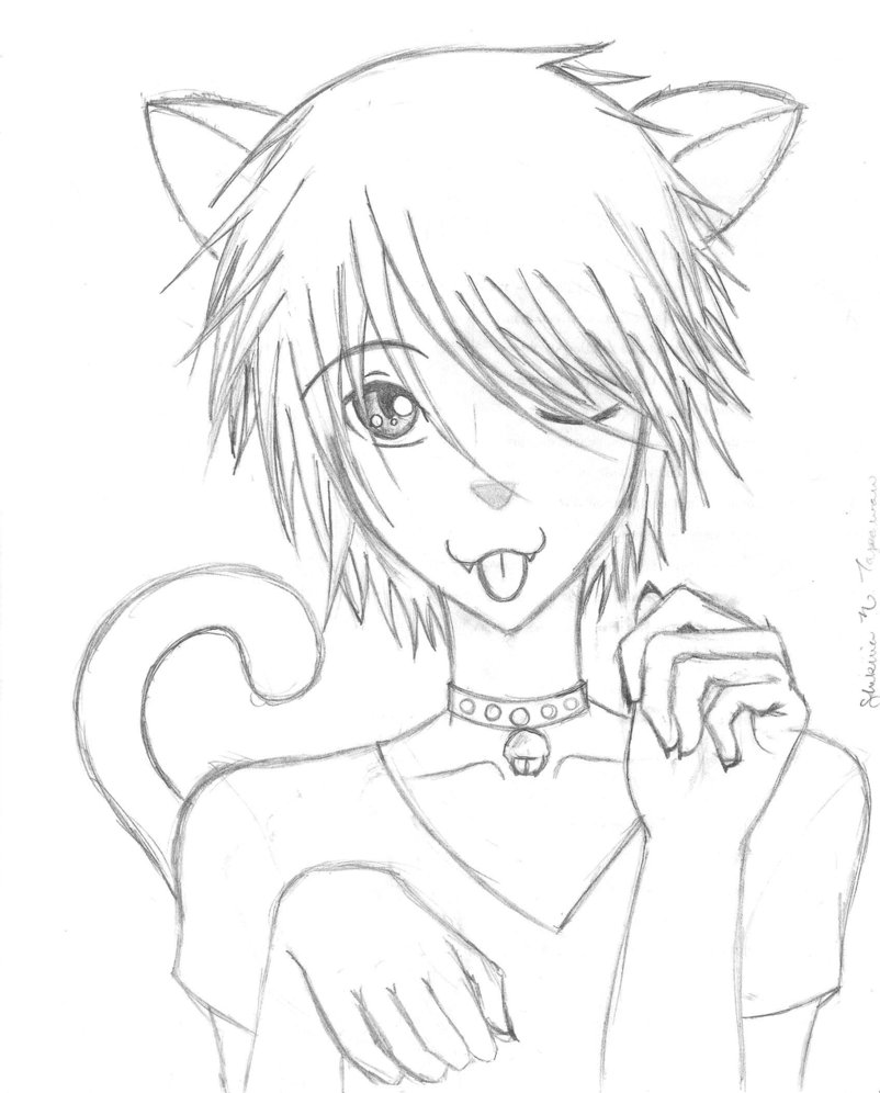 Girl With Fox Fur Line Art: Anime Guy Drawing At GetDrawings