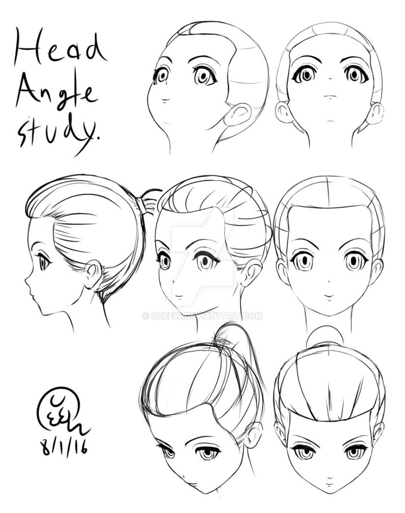 794x1006 Anime Head Angle Study By Queew
