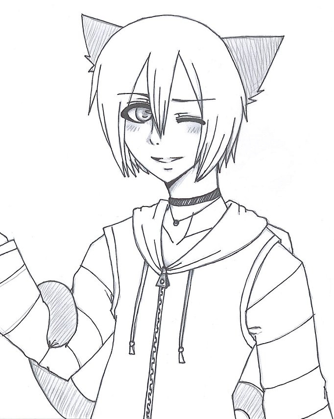 682x856 Neko Boy In Hoodie By Severedsmile