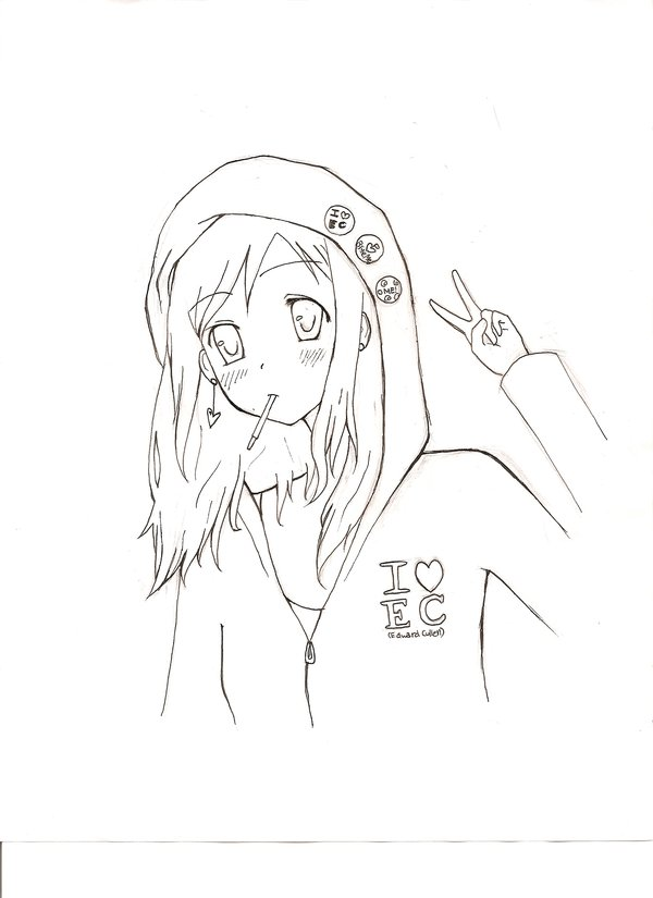 600x825 hoodie girl lineart by godzilla23 on deviantart