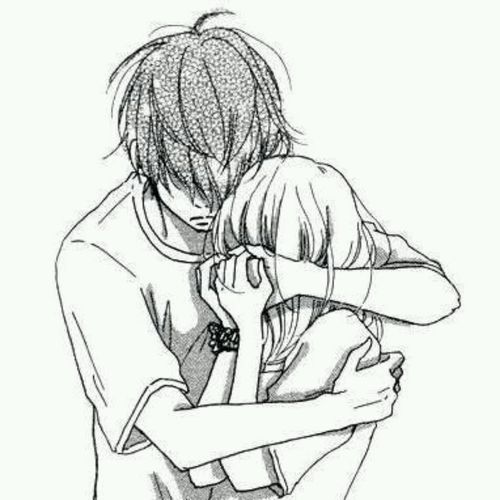 500x500 sad anime love hug drawings