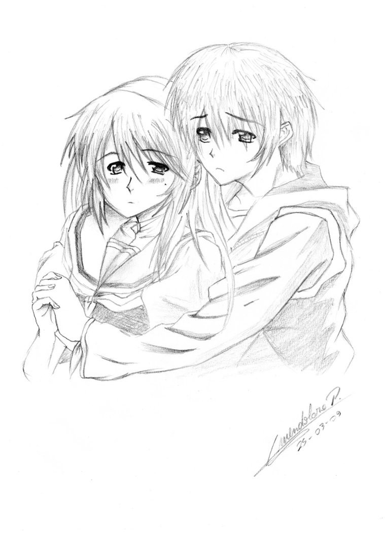 759x1054 Pencil Drawings Of Anime Couples