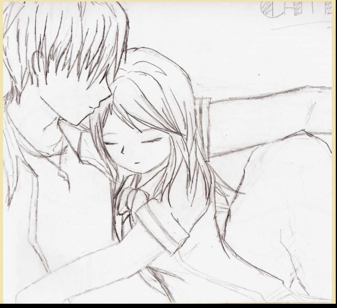1107x1013 Anime Love Drawing Drawn Anime Love Kiss