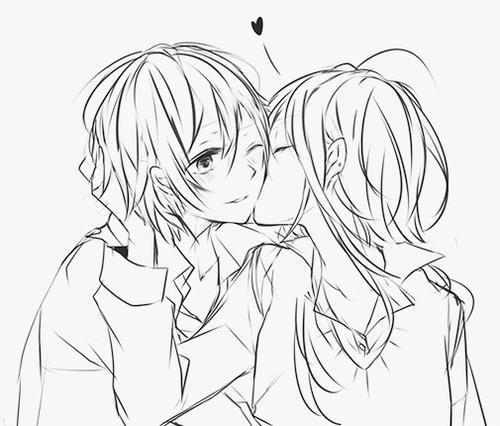 500x426 Drawn Kissing Cheek