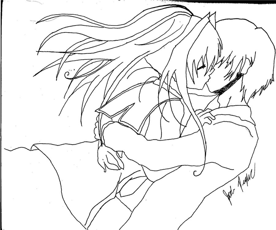 900x751 Anime Couple Kissing By Invader Jacob