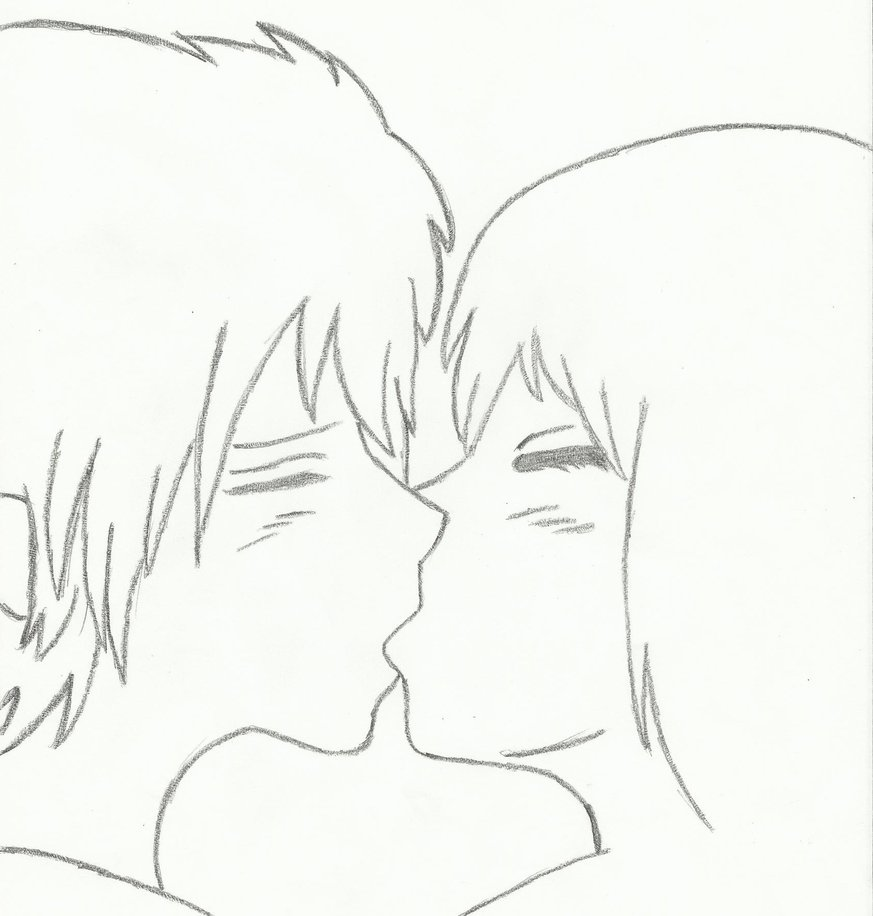 Anime Boy And Girl Kissing Drawing Www Topsimages Com