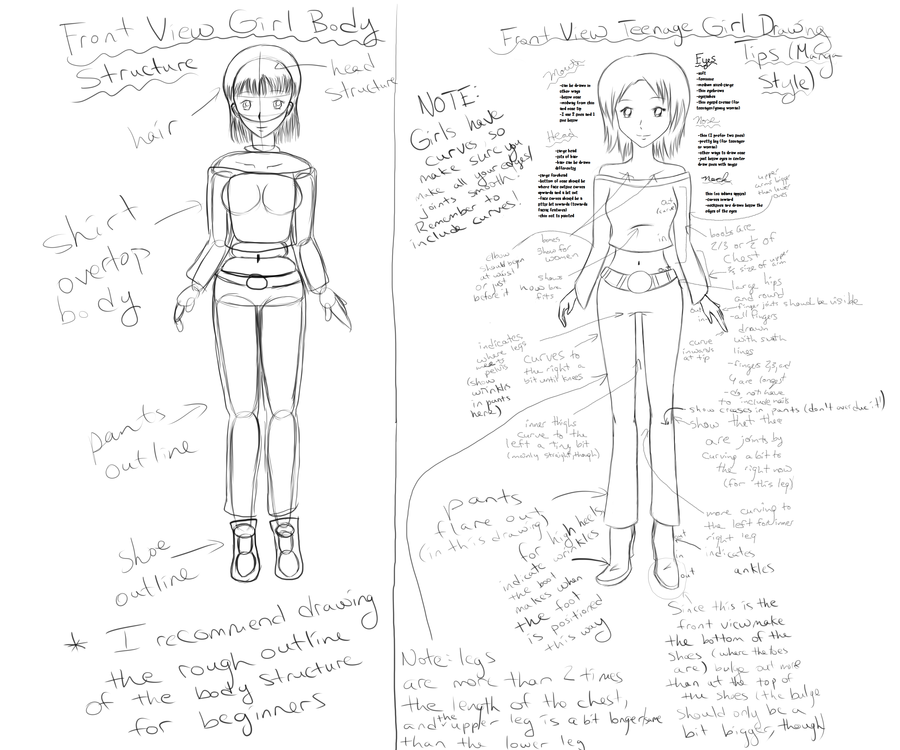 900x750 Front View Manga Drawing Tutorial Teenage Girl By Rubberflippers