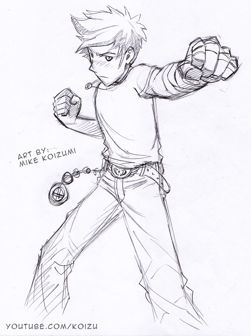 800x1069 Manga Fighting Pose Punching Fists By Mikekoizumi