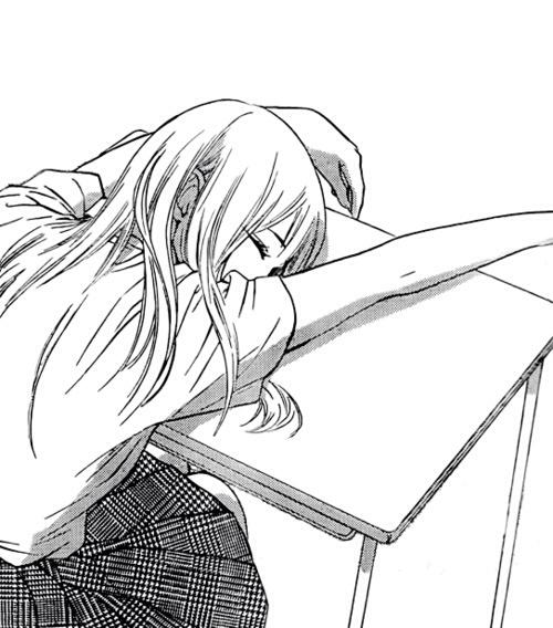 500x568 Bampw Manga Female Character Sleeping Slumped Over School Desk,