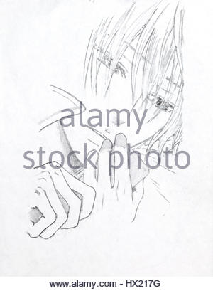 300x409 Drawing In The Style Of Anime. The Image Of A Fictional Character