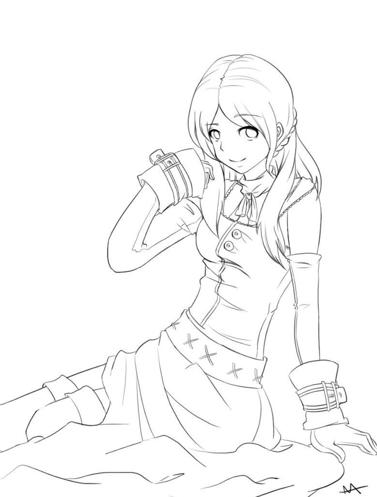 779x1026 Anime Girl Outline By Megamooni