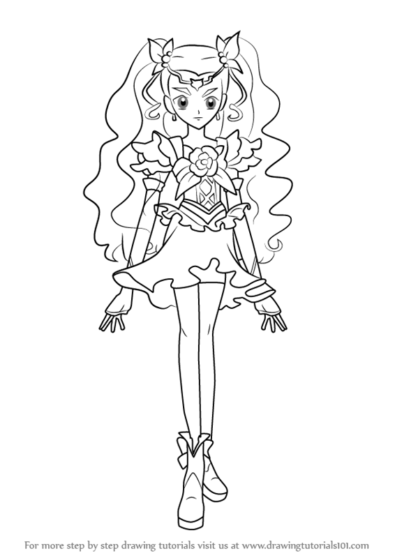 566x800 Learn How To Draw Milky Rose From Pretty Cure (Pretty Cure) Step