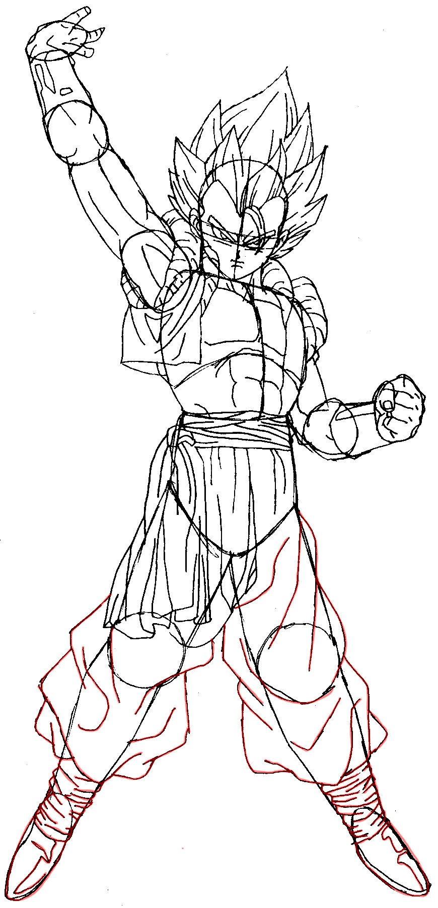 870x1804 How To Draw Gogeta From Dragon Ball Z In Easy Steps Tutorial How